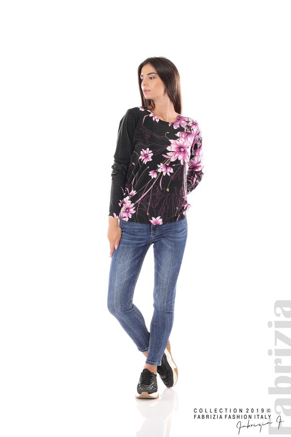 Блуза с принт на цветя черен/лилав 3 fabrizia