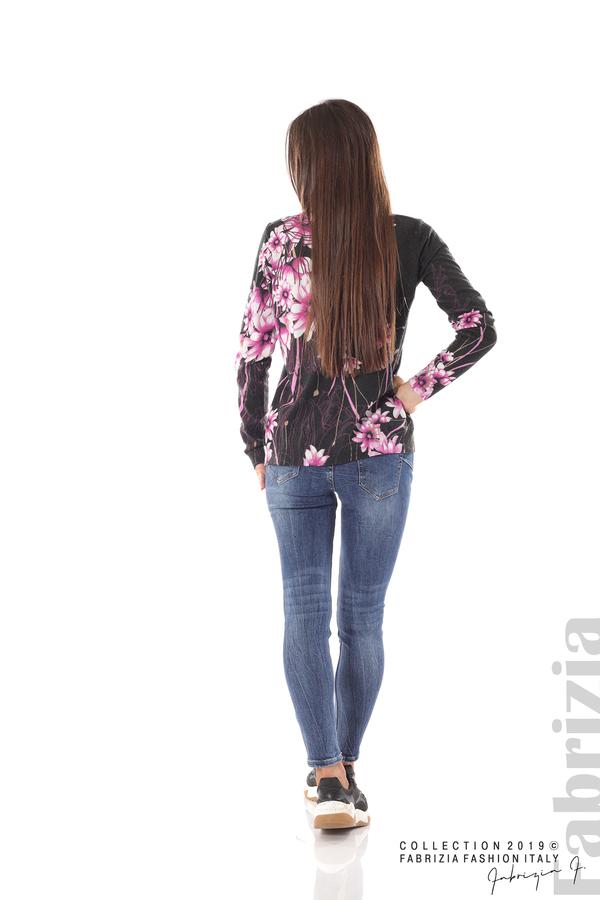 Блуза с принт на цветя черен/лилав 4 fabrizia