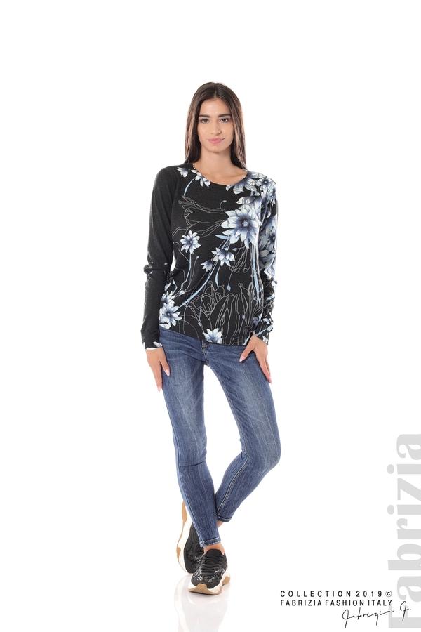 Блуза с принт на цветя черен/син 1 fabrizia