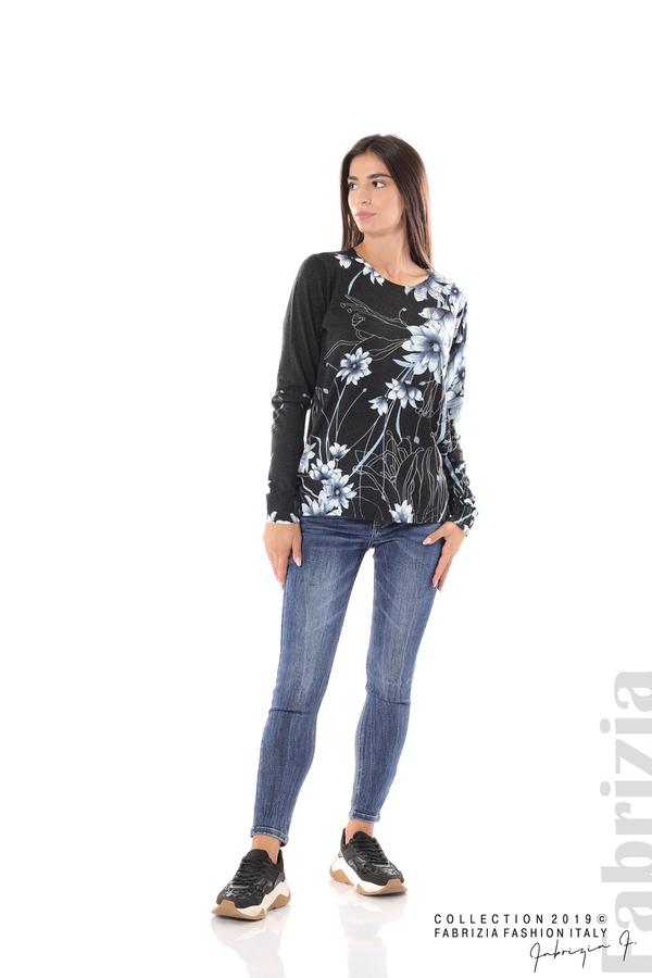 Блуза с принт на цветя черен/син 3 fabrizia