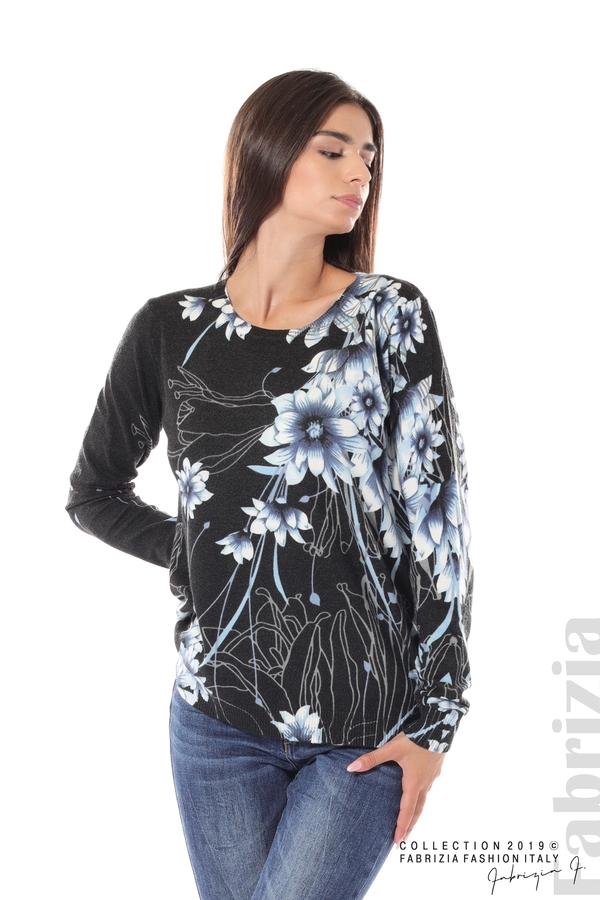 Блуза с принт на цветя черен/син 2 fabrizia