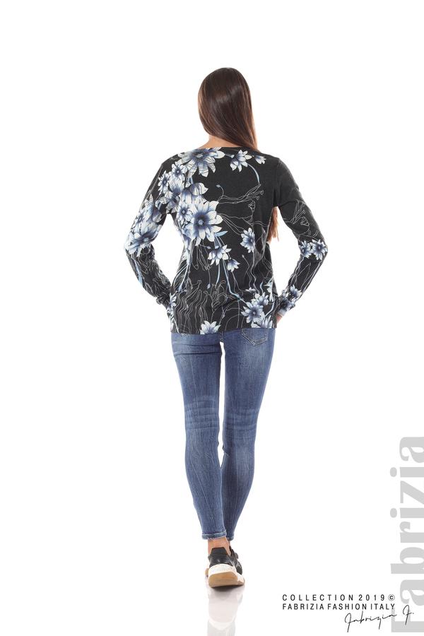 Блуза с принт на цветя черен/син 4 fabrizia