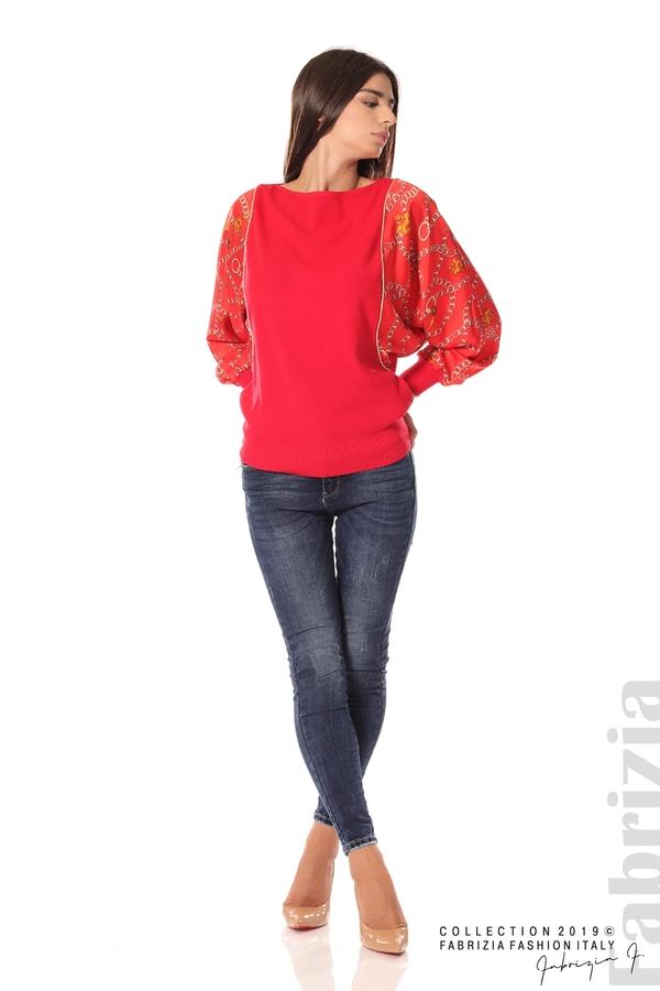 Дамска блуза с прилеп ръкави червен 2 fabrizia