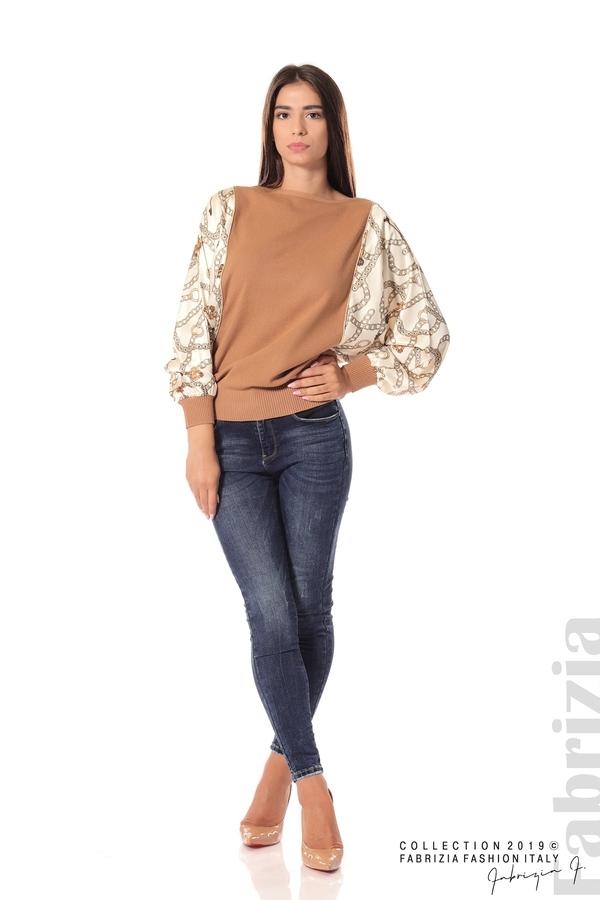 Дамска блуза с прилеп ръкави кафяв 2 fabrizia