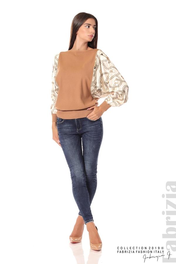 Дамска блуза с прилеп ръкави кафяв 3 fabrizia