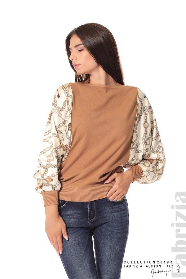 Дамска блуза с прилеп ръкави кафяв 1 fabrizia
