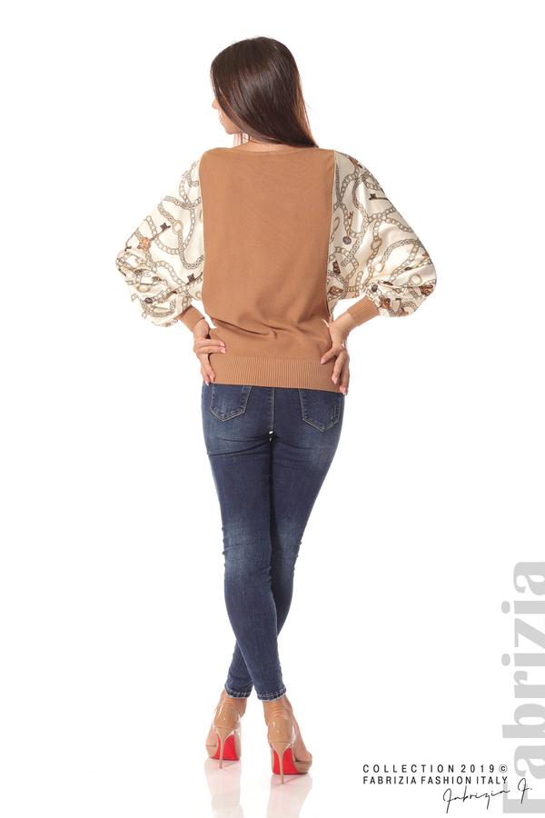Дамска блуза с прилеп ръкави кафяв 4 fabrizia