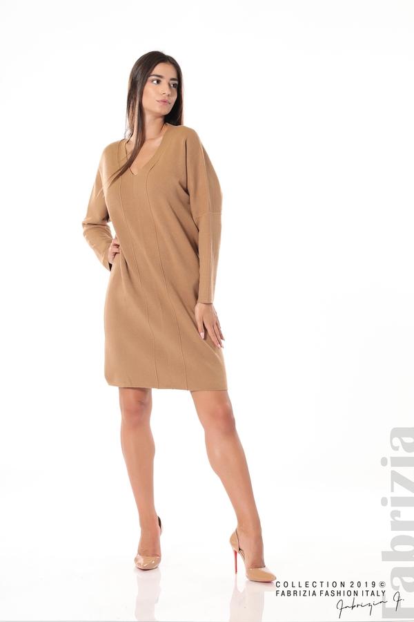 Дамска плетена рокля мляко с какао 2 fabrizia