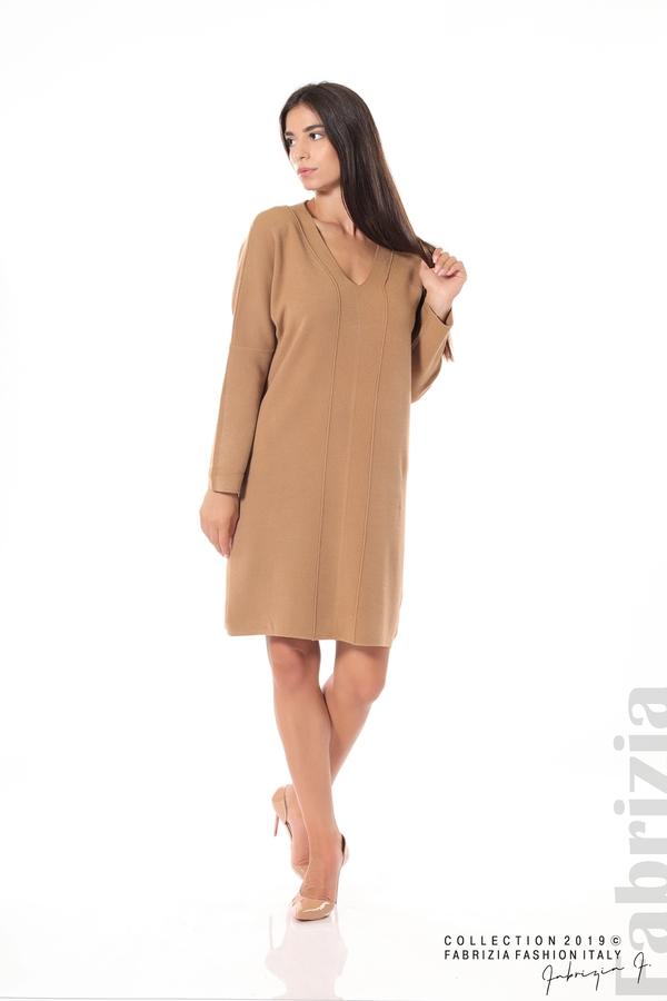 Дамска плетена рокля мляко с какао 3 fabrizia