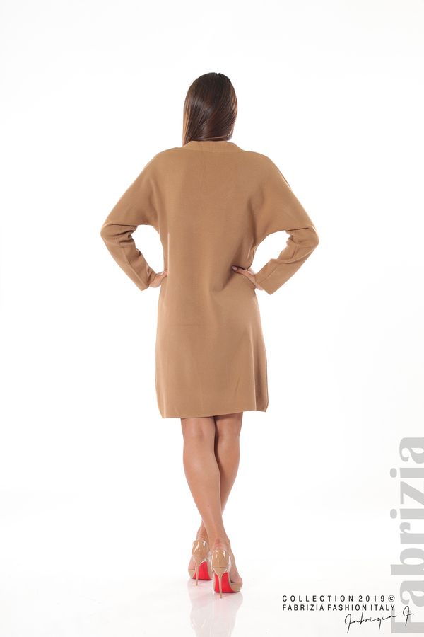 Дамска плетена рокля мляко с какао 4 fabrizia