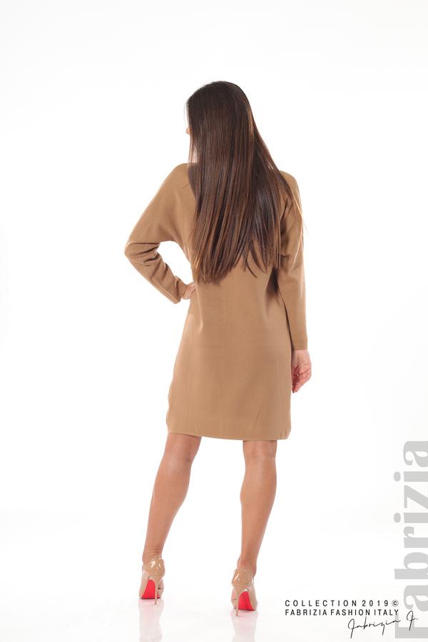 Дамска плетена рокля мляко с какао 5 fabrizia