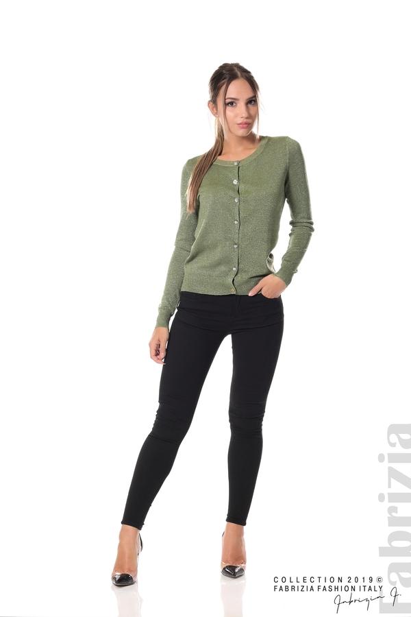 Дамска жилетка с копчета зелен 1 fabrizia