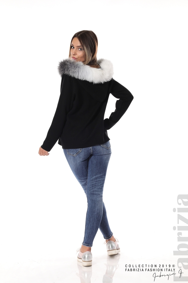 Дамска жилетка с качулка черен 5 fabrizia