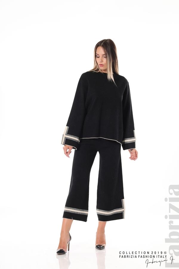 Комплект блуза и панталон чарлстон черен 4 fabrizia