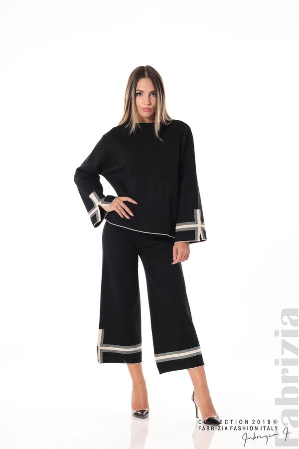 Комплект блуза и панталон чарлстон черен 1 fabrizia