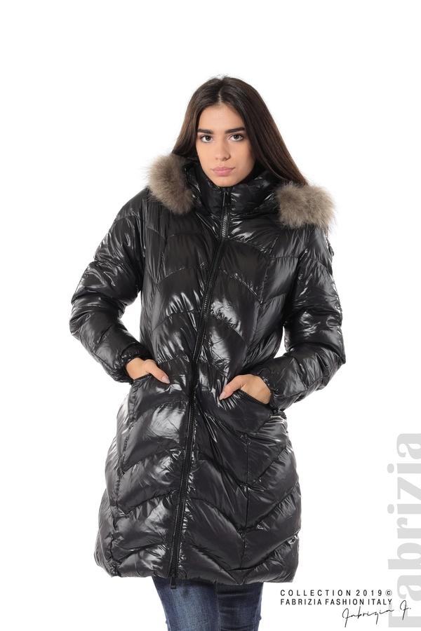 Дълго дамско зимно яке черен 1 fabrizia