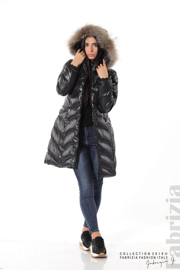 Дълго дамско зимно яке черен 3 fabrizia