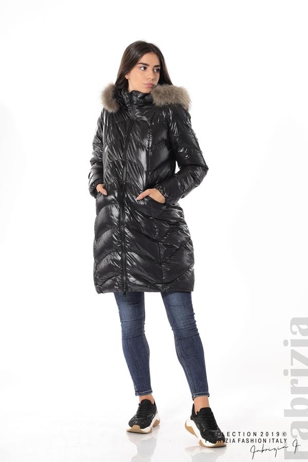 Дълго дамско зимно яке черен 4 fabrizia
