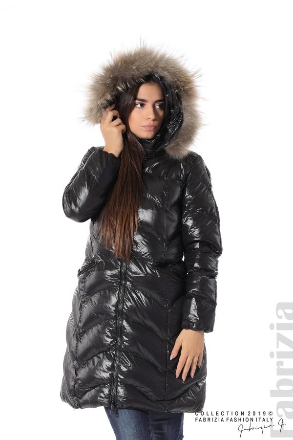 Дълго дамско зимно яке черен 5 fabrizia