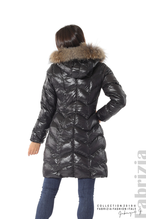 Дълго дамско зимно яке черен 6 fabrizia