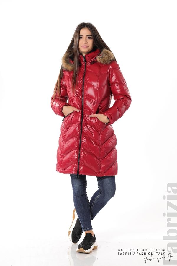 Дълго дамско зимно яке т.червен 3 fabrizia