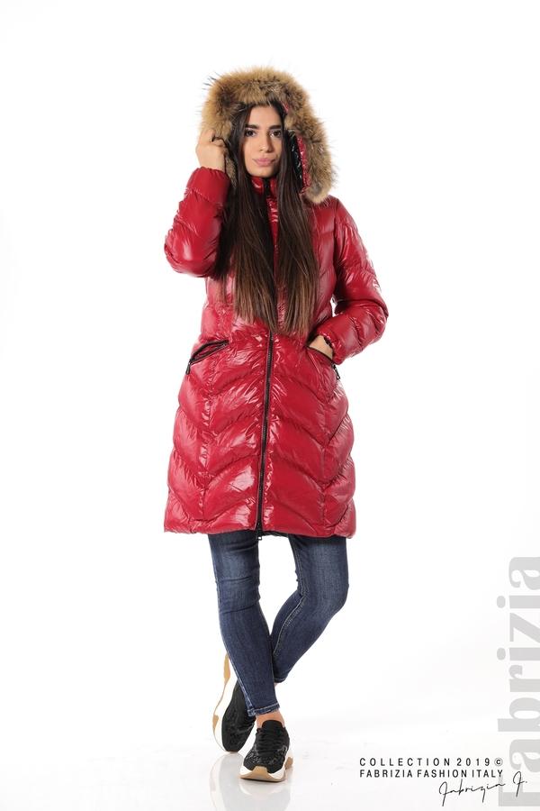 Дълго дамско зимно яке т.червен 2 fabrizia