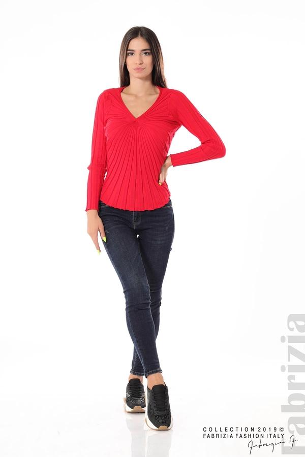 Блуза от релефен рипс червен 2 fabrizia