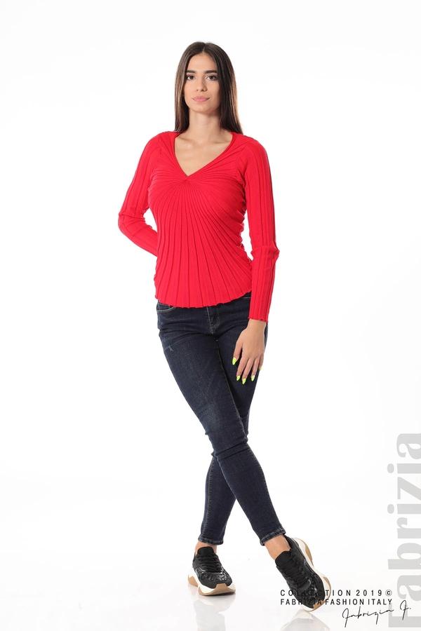 Блуза от релефен рипс червен 3 fabrizia