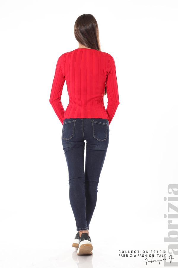 Блуза от релефен рипс червен 4 fabrizia