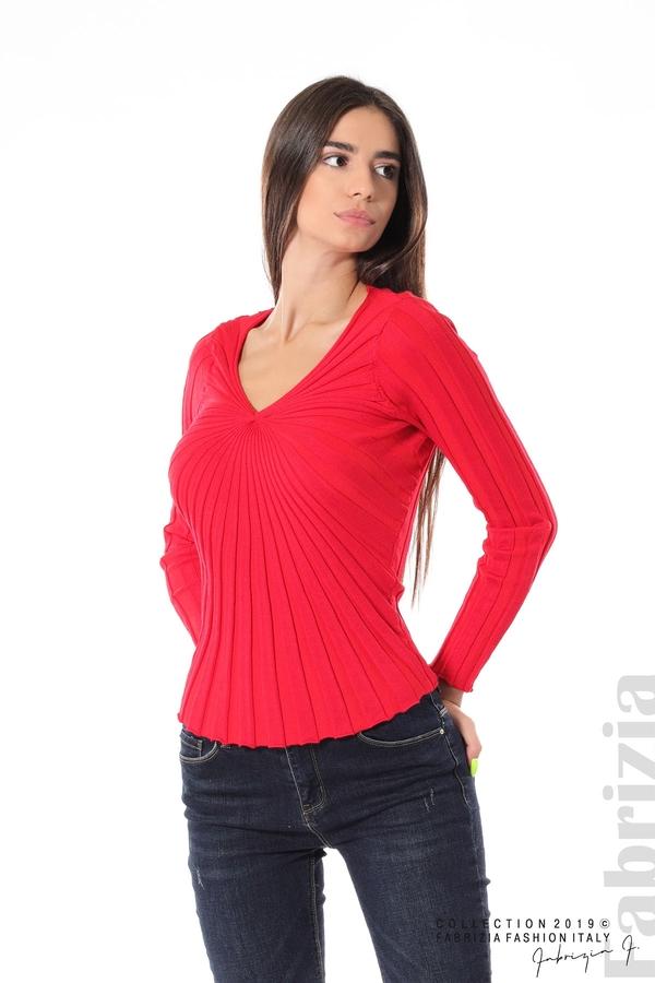 Блуза от релефен рипс червен 1 fabrizia