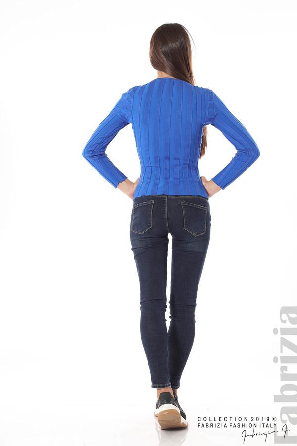 Блуза от релефен рипс син 4 fabrizia
