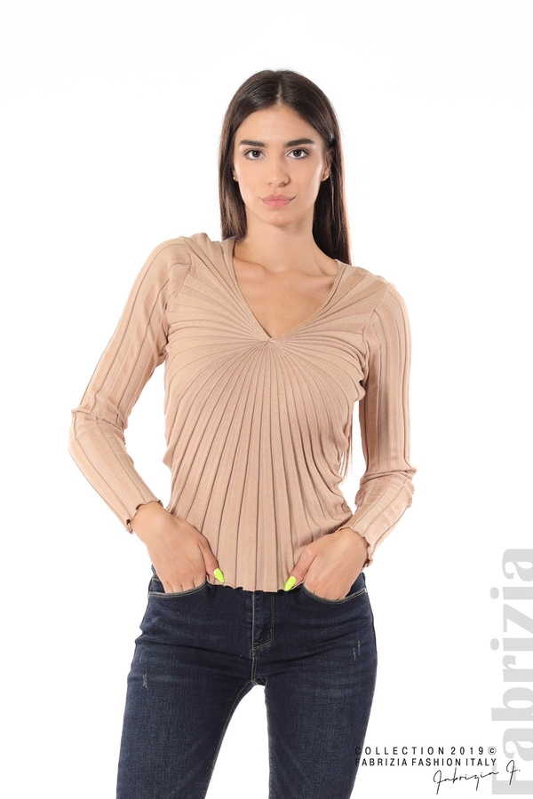 Блуза от релефен рипс бежов 1 fabrizia