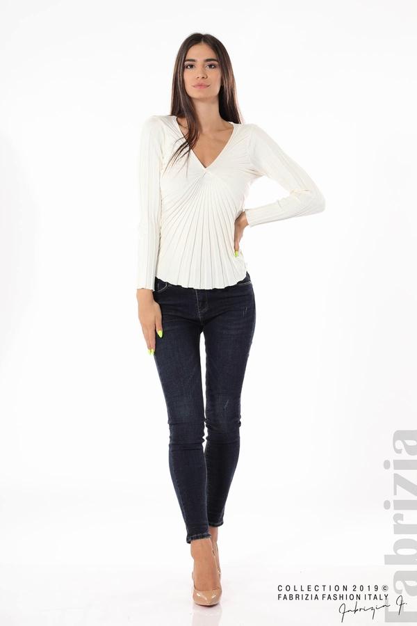 Блуза от релефен рипс бял 2 fabrizia