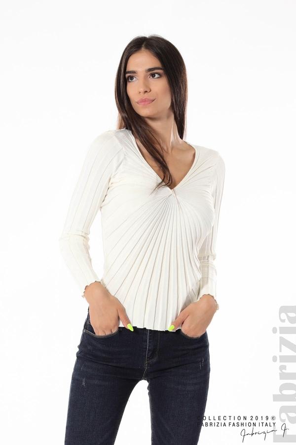 Блуза от релефен рипс бял 1 fabrizia