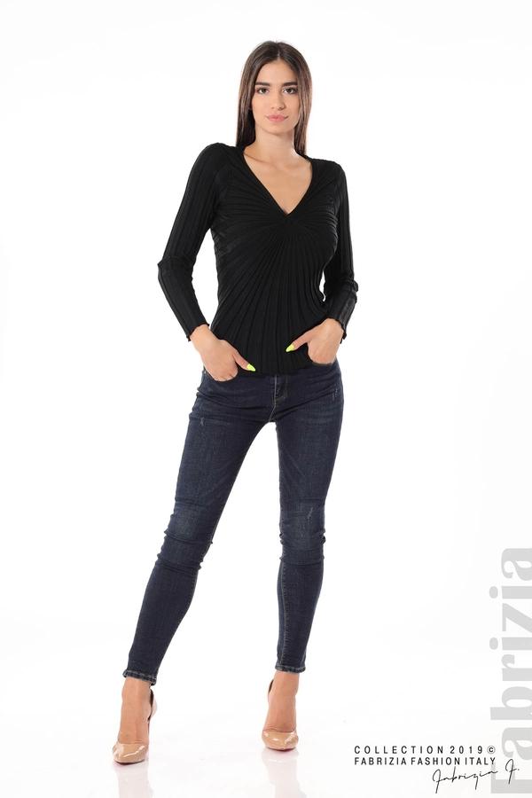 Блуза от релефен рипс черен 1 fabrizia