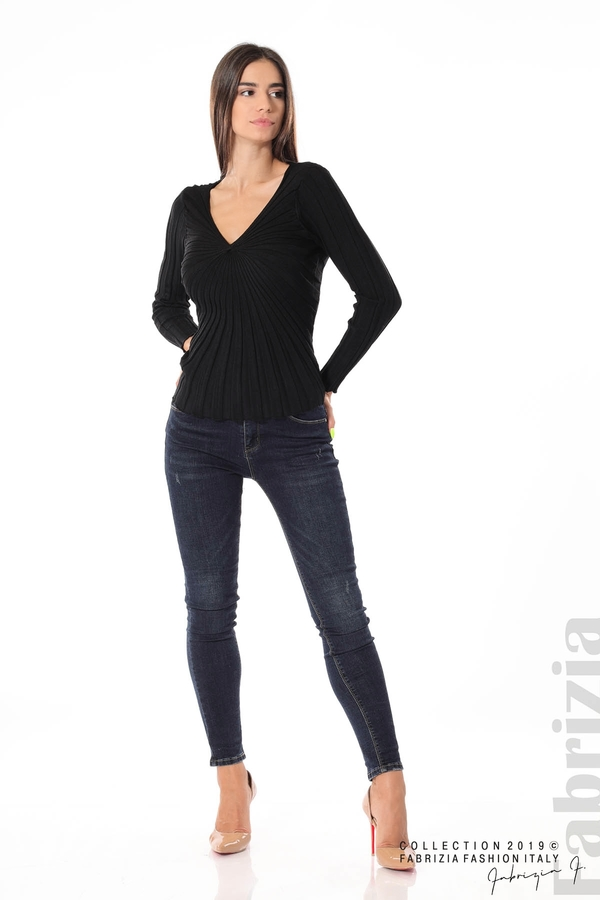Блуза от релефен рипс черен 3 fabrizia
