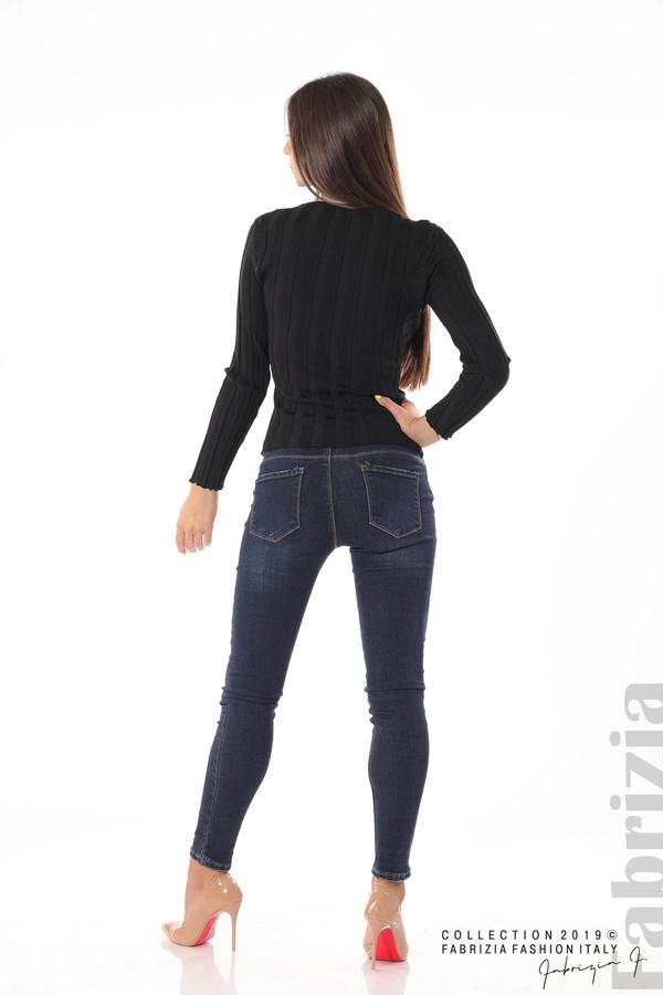 Блуза от релефен рипс черен 4 fabrizia