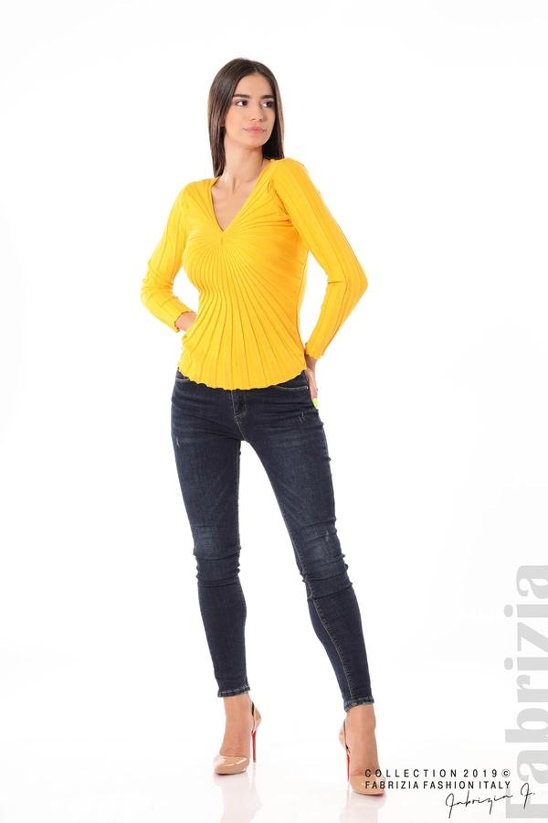 Блуза от релефен рипс жълт 1 fabrizia
