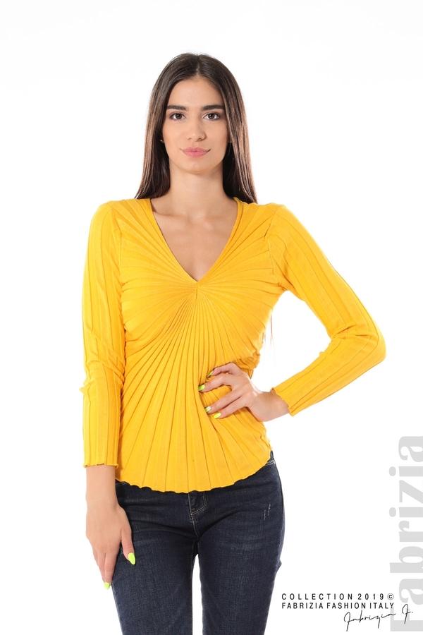 Блуза от релефен рипс жълт 2 fabrizia