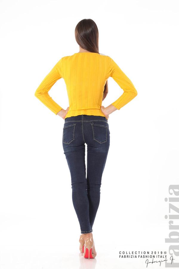 Блуза от релефен рипс жълт 4 fabrizia