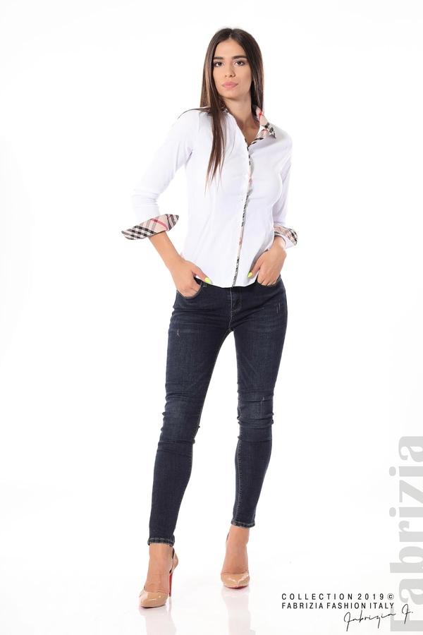 Вталена дамска риза бял 1 fabrizia
