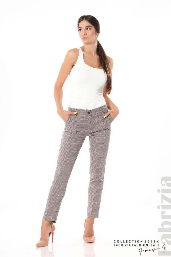 Дамски кариран панталон бежов 4 fabrizia