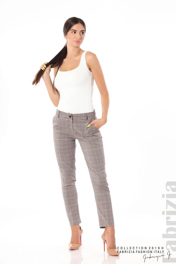 Дамски кариран панталон бежов 3 fabrizia
