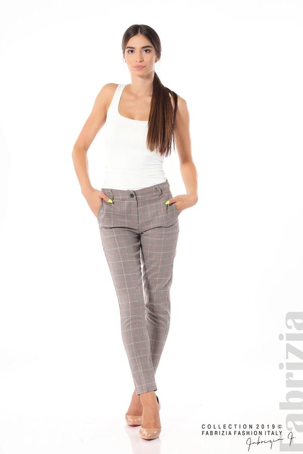 Дамски кариран панталон бежов 1 fabrizia