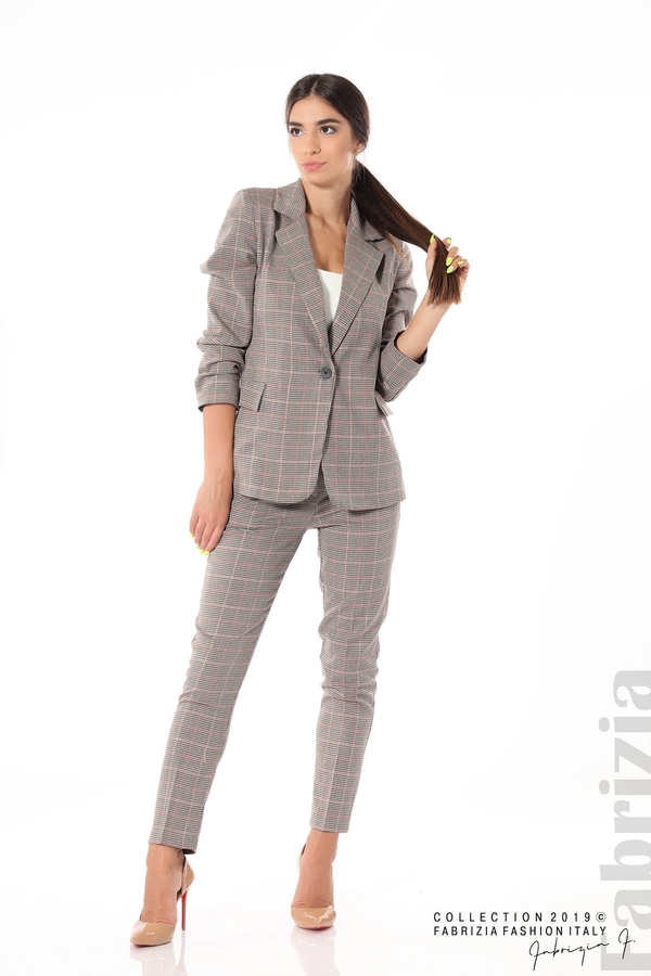 Дамски кариран панталон бежов 9 fabrizia