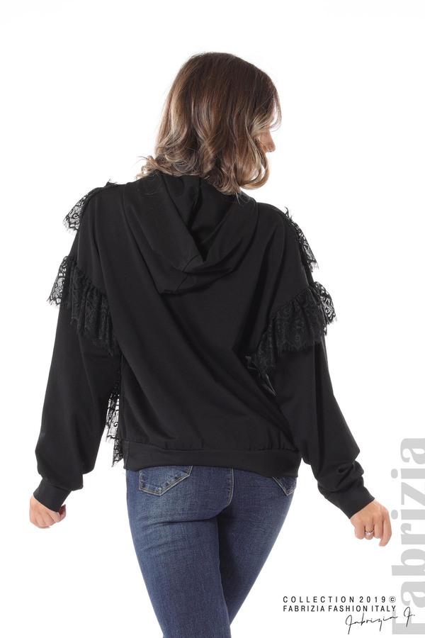 Дамска блуза с качулка и дантела черен 5 fabrizia