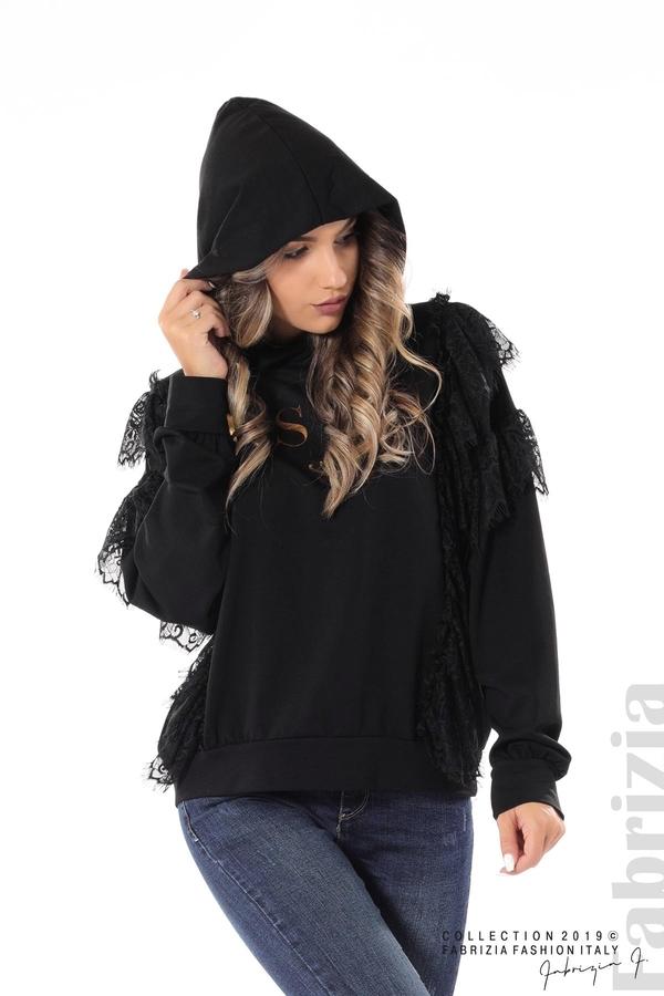 Дамска блуза с качулка и дантела черен 4 fabrizia