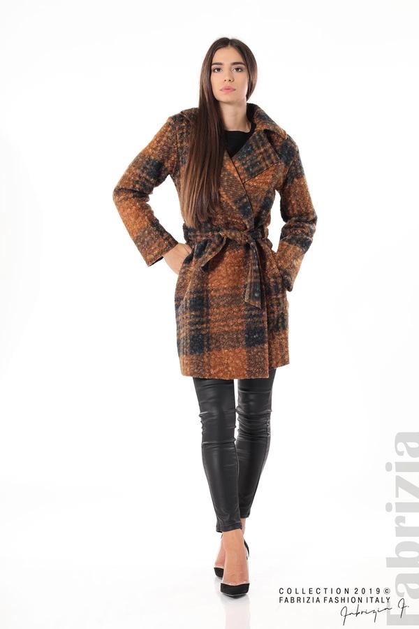 Дамско палто каре кафяв 2 fabrizia