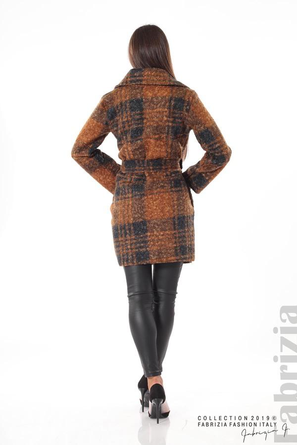Дамско палто каре кафяв 4 fabrizia