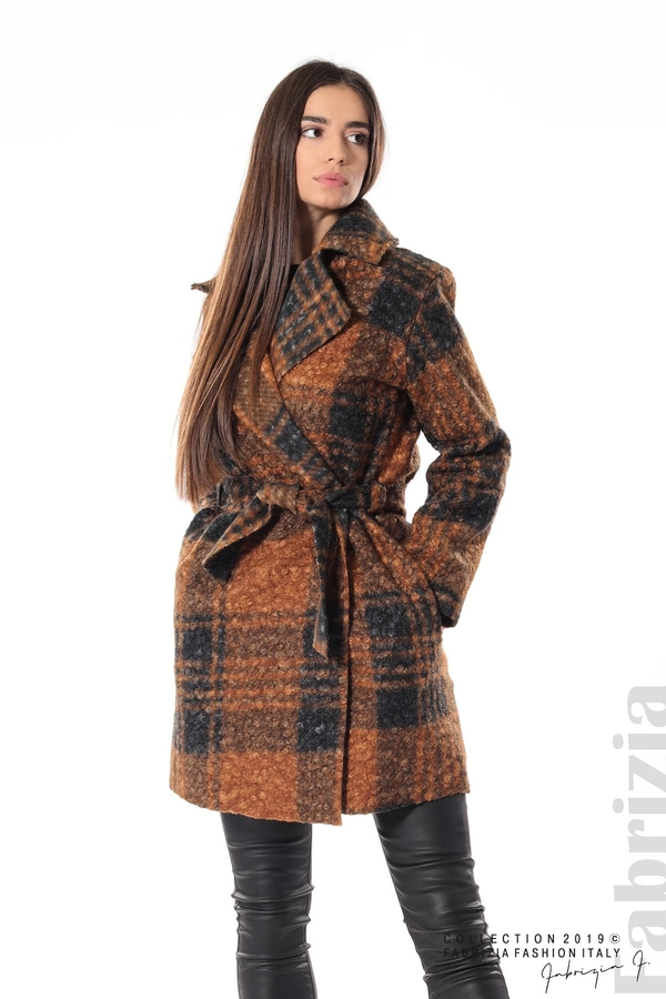 Дамско палто каре кафяв 1 fabrizia